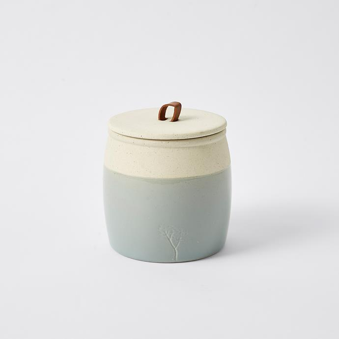 Dipped Glaze Ceramic Jar, $10