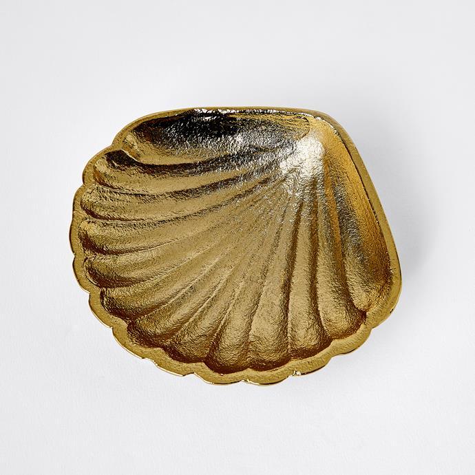 Gold Shell Trinket Dish, $8