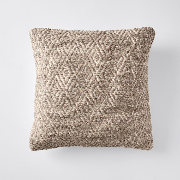 Wool Blend Patterned Cushion in Pink, $25
