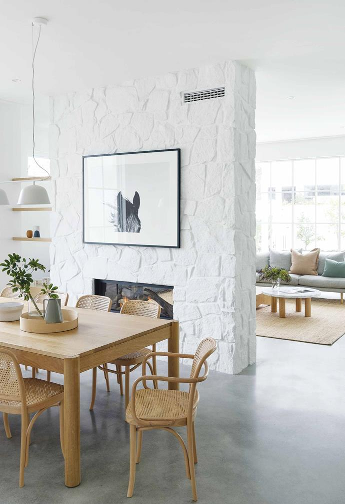 "**Dining area** Polished concrete floors and walls painted [Dulux](https://www.dulux.com.au/|target=""_blank""
