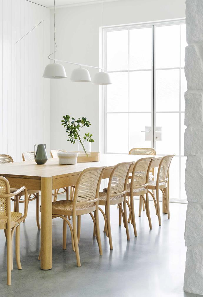 "**Dining area** The combination of Huxley American oak table from [Jardan](https://www.jardan.com.au/|target=""_blank""