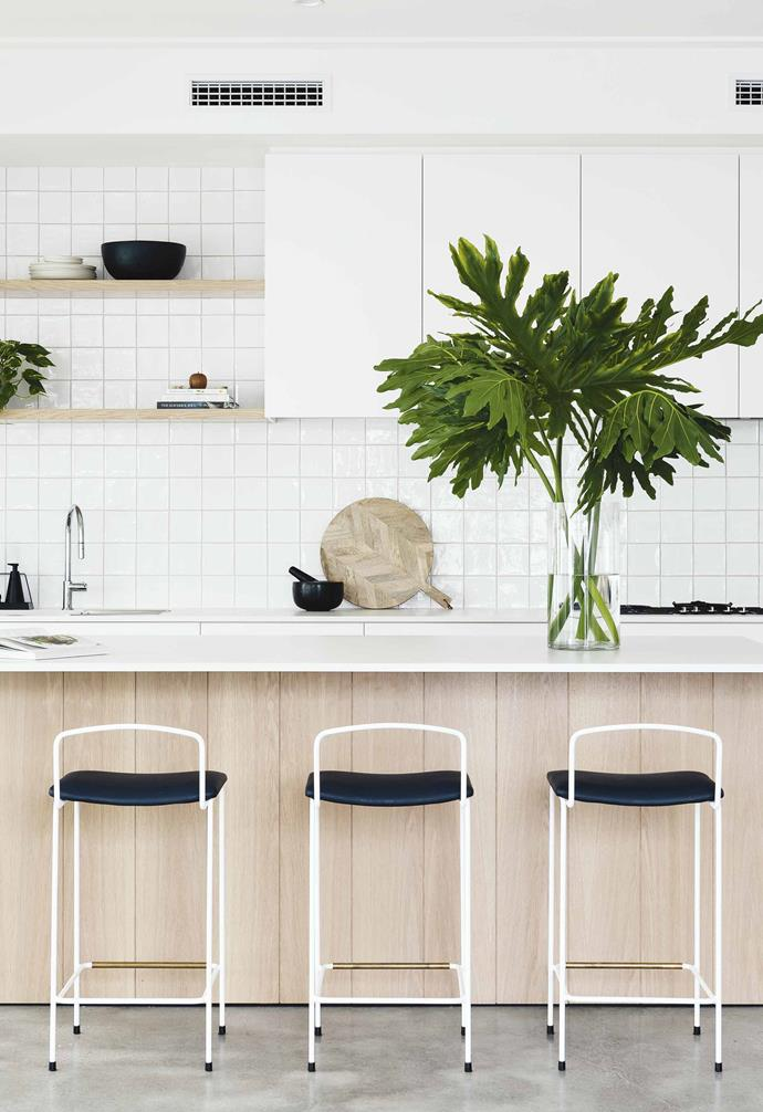 "**Kitchen** Interior designer Lara Staunton delivered character by using textural materials such as irregular square tiles from [Myaree Ceramics](https://myareeceramics.com.au/|target=""_blank""