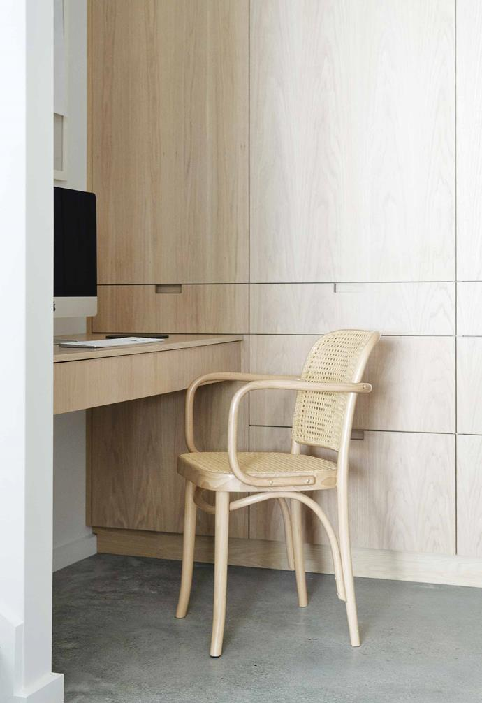 "**Study nook** Just off the scullery, this desk has been integrated into a wall of oak- veneer cabinetry. Chair, [Thonet](https://thonet.com.au/|target=""_blank""