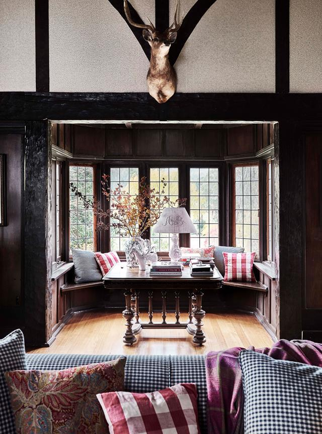 "TV presenter Bridget Mcintyre visited this [farm in Victoria's Yarra Valley](https://www.homestolove.com.au/tudor-style-homestead-australia-20109|target=""_blank"") many times as a child. Now, 30 years later, she calls it home. The bay windows in the dark timber living room offer bucolic views out to the countryside."