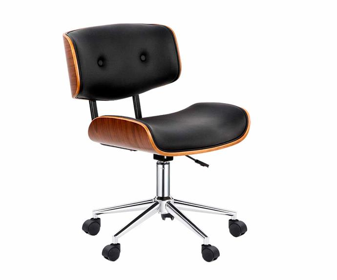 "Dwell Home Executive Wooden Walnut office chair, $139, [Temple & Webster](https://www.templeandwebster.com.au/Artiss-Executive-Wooden-Walnut-Office-Chair-ILIF4143.html|target=""_blank""