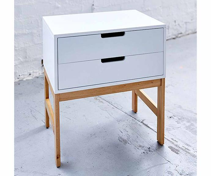 "Bailey two-drawer side table, $39, [Target](https://www.target.com.au/p/bailey-side-table-two-drawer/60533579|target=""_blank""