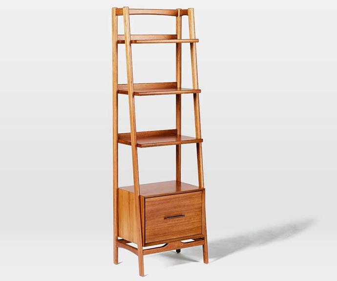 "Mid-century narrow bookshelf - acorn, $799, [West Elm](http://www.westelm.com.au/mid-century-bookshelf-narrow-h1058|target=""_blank""|rel=""nofollow"")."