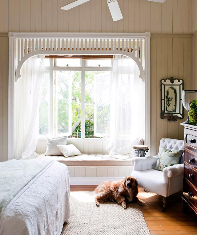"Paying homage to the interior style, whilst keeping functionality in focus, this [bay window](https://www.homestolove.com.au/window-treatments-19925|target=""_blank"") is furnished with an intricate wooden frame, airy sheer curtains and classic faux-wooden draw blinds."
