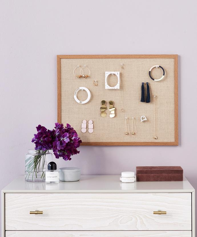 This DIY pinboard is the perfect place to store and display your earring collection.