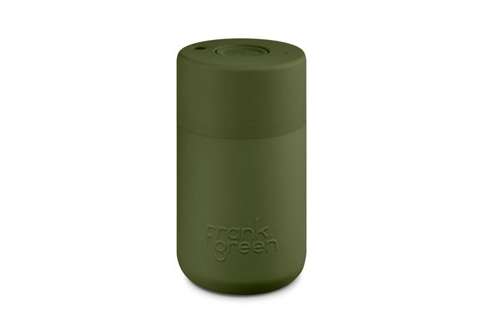 "Ceramic Resuable Cup/Bottle, $39.95, from [Frank Green](https://frankgreen.com.au/collections/reusable-cups?t=stainless-steel-reusable-cup|target=""_blank""