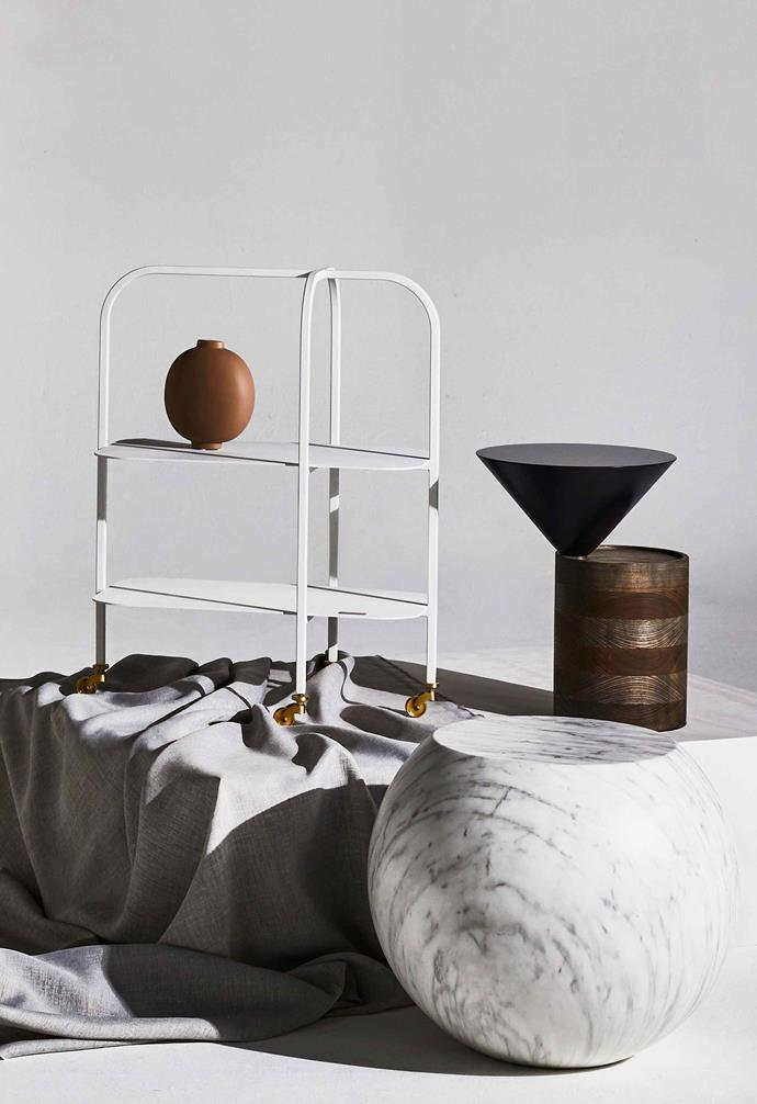 "Bell trolley, $840, [Trit House](https://www.trithouse.com.au/|target=""_blank""|rel=""nofollow""). Bloomingville vase, $54, [Designstuff](http://www.designstuff.com.au/|target=""_blank""|rel=""nofollow"")."