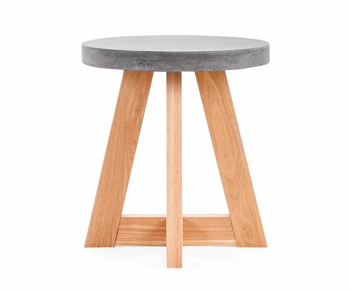 "Marina round side table, $249, [Lounge Lovers](https://www.loungelovers.com.au/|target=""_blank""