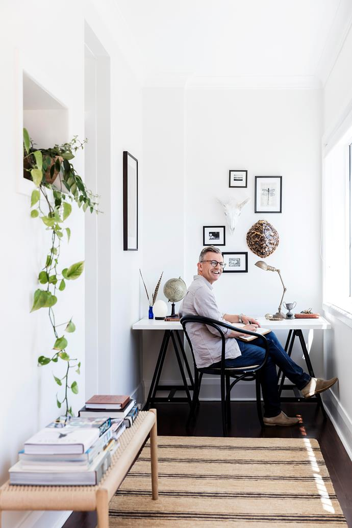 **Home office:** James has injected a homely feel into his office space with natural textures, artwork and indoor plants. Functional doesn't have to mean impersonal.