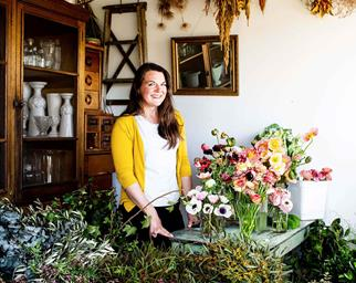 Sophie owner of Little Triffids Flowers Wagga in her workshop