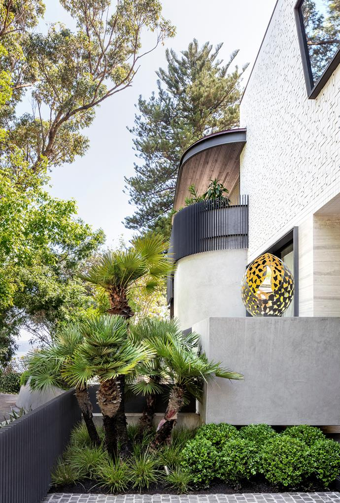 Buxus spheres at the entrance mingle with European fan palm and *Lomandra longifolia* 'Tanika'. The house is finished in white Inax uneven tiles, travertine and stucco render. The sculpture perched on the wall is by David Harbour. The path is cobblestoned in granite.