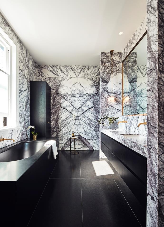 The main bathroom has been swathed in New York marble that has a polished finish.