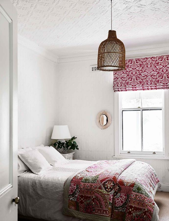 "Wunderlich tin was used on the walls and ceilings in the five bedrooms, with each featuring a different pattern. In Tibby's bedroom Yass Curtains and Blinds made a blind using fabric from [No Chintz](https://www.nochintz.com/|target=""_blank""