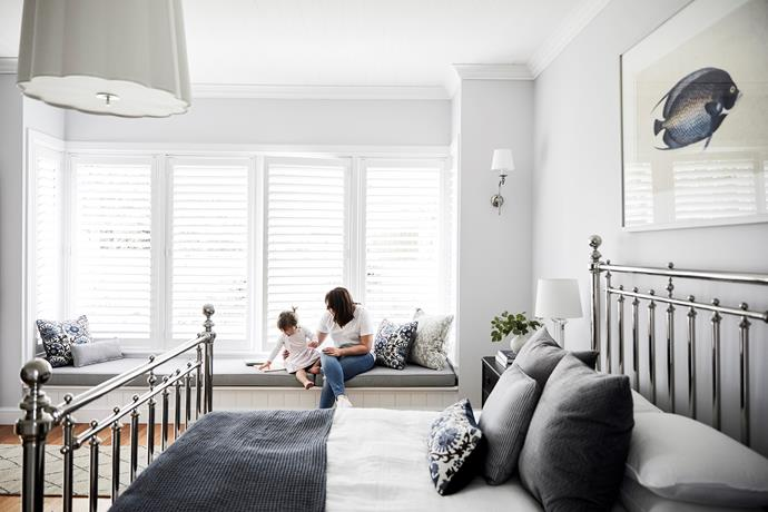 The soft grey wall colour, Dulux Paramount Design, creates a sense of retreat. Le Papillon bed, Coco Republic. Barbara Barry Simple Scallop chandelier, The Montauk Lighting Co.