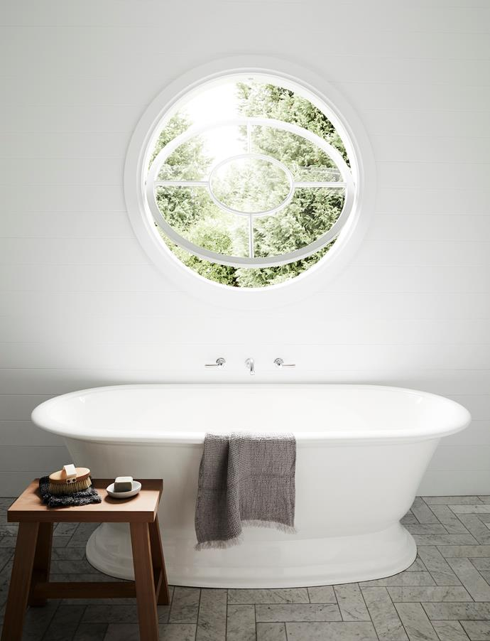 The 1.2m feature window was designed by Brielle and made by Andrew. Elwick bath, Victoria+Albert.