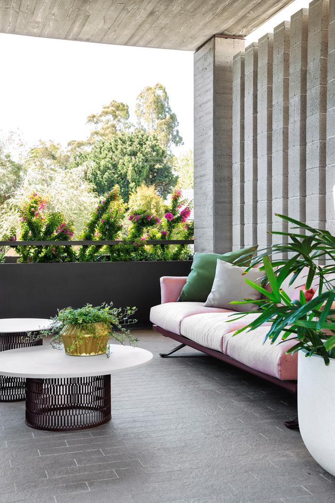 If you're lucky enough to have a covered balcony, you can afford to spend more on the furniture and decor and extend your interior style to the outdoors to create a seamless indoor/outdoor connection.