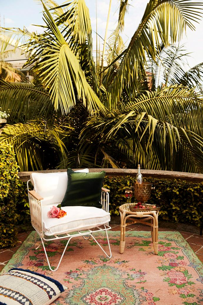 Lay low by ditching furniture and relaxing on your balcony floor. Source some stylish cushions, an outdoor rug and some warm blankets to cuddle up with on cooler nights.