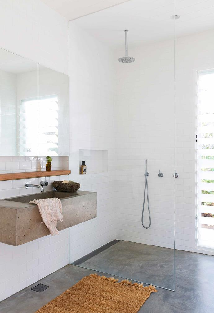 """**Bathroom** Subway tiles, a basin by [Classic Concrete Co](https://www.classicconcreteco.com.au/