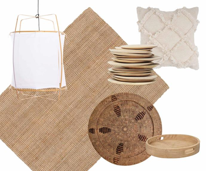 """**Fibre fest** Mix it up with a cross-section of natural materials in organic shapes. **Get the look** (clockwise from left) Ay Illuminate 'Z2 blond' cotton-cover pendant light, $900, [Spence & Lyda](https://www.spenceandlyda.com.au/