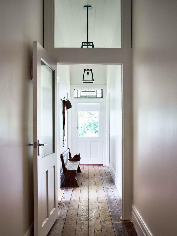 Original floorboards were retained in the hallway. Walls throughout are painted in Daylight by Haymes Paint.
