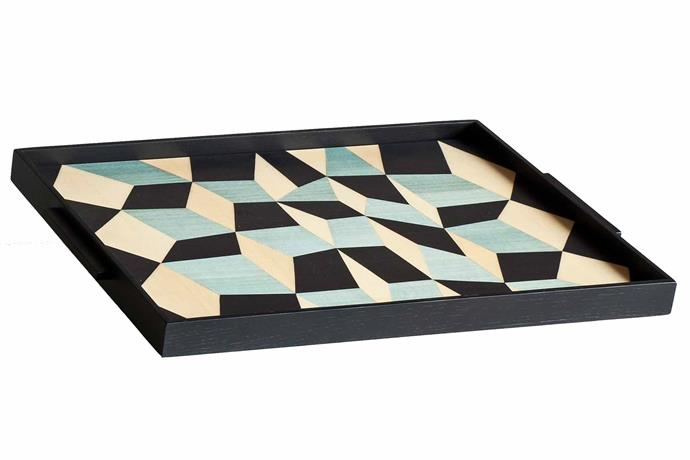 "**PATTERN PLAY** <br>Be bold and play around with patterns when it comes to your serving trays. We love the geometric pattern in the base of this tray which will add the perfect finishing accent to any occasion.<br>Tacchini 'Tarsia' **tray**, $585, [Stylecraft Home](https://www.stylecrafthome.com.au/|target=""_blank""