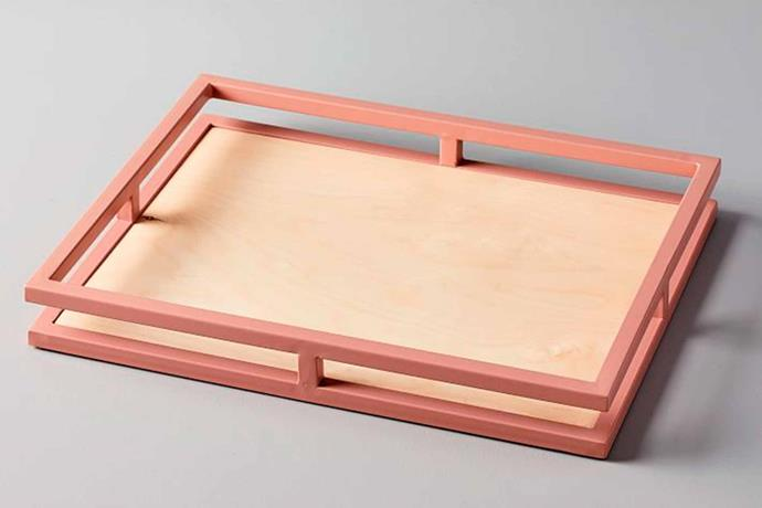 "**MATERIAL MATTERS** <br>We love the sophisticated look of this framed serving tray. The blush colour instantly adds warmth when paired with the blonde timber base. <br>Wood + Glaze **tray**, $99, [West Elm](http://www.westelm.com.au/|target=""_blank""