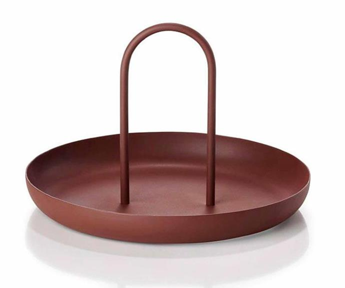 "**SCULPTURE** <br>Who said serving trays had to be boring? This sculptural serving tray features a chic and functional handle that instantly adds drama.<br>Zone Denmark 'Singles' **tray**, $49, [Designstuff](https://www.designstuff.com.au/|target=""_blank""