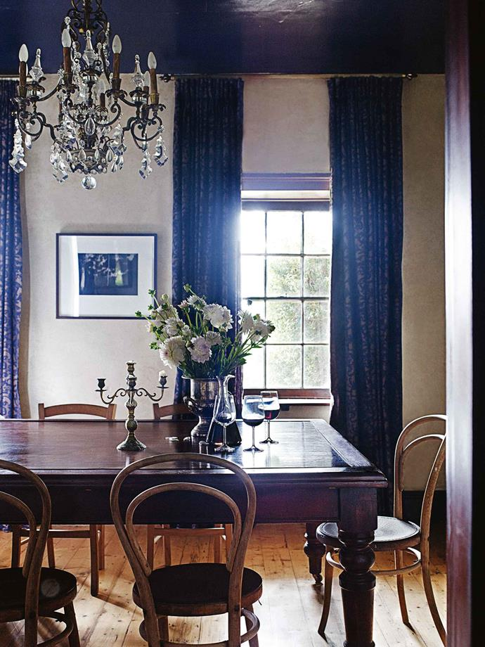 """""""The candelabra was a gift and the table came from a farm clearance sale,"""" Simmone says. """"It was a great find as it was made the same year the house was built."""""""