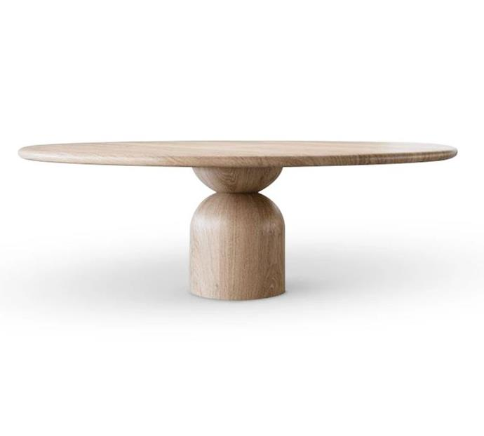 """Prefer a round dining table? This curvaceous design is sure to be a conversation starter. The sculpted base, which has been handcrafted from solid timber, allows for extra room underneath, meaning you can easily squeeze in extra dinner guests.   Bell Dining Table, from $14,170, [The Wood Room](https://thewoodroom.com.au/collections/dining-tables/products/bell-dining-table