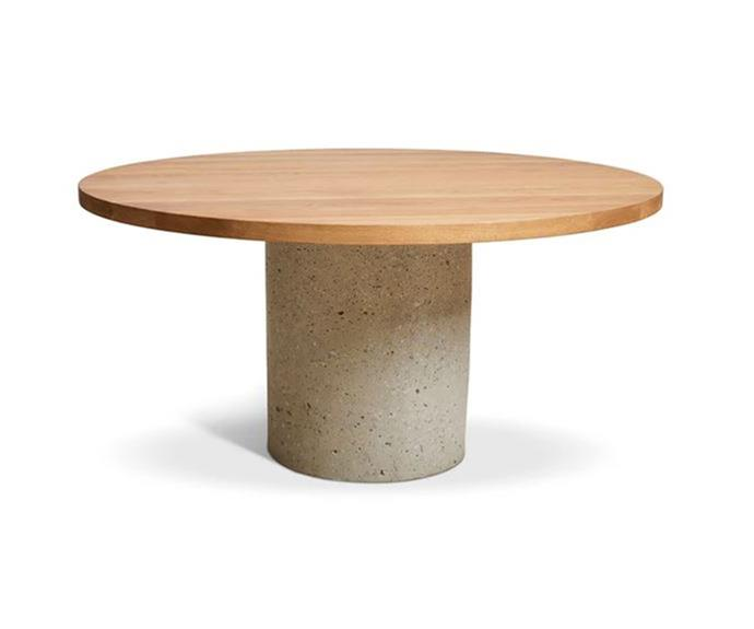 """Handmade in Australia, this stunning table features a round American Oak top supported by a solid concrete base, adding warmth and texture to any dining space.   Round Concrete Cylinder Dining Table, $5299, [Harpers Project](https://www.harpersproject.com/collections/dining-tables/products/concrete-cylinder-dining-table