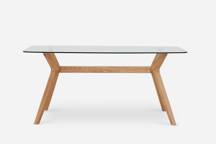 """While many glass-topped table can appear sharp and cold, with its a curved tempered glass top and smooth American oak base, this elegant dining table will create a sense of space and softness.   Bess Dining Table, $649, [Castlery](https://www.castlery.com.au/products/bess-dining-table?quantity=1&length=1_5m