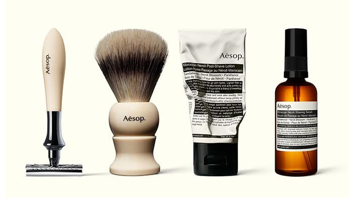 "Complete Shaving Care kit, $285 (individual product purchase available), from [Aesop](https://www.aesop.com/au/p/skin/shave/complete-shaving-care/|target=""_blank""