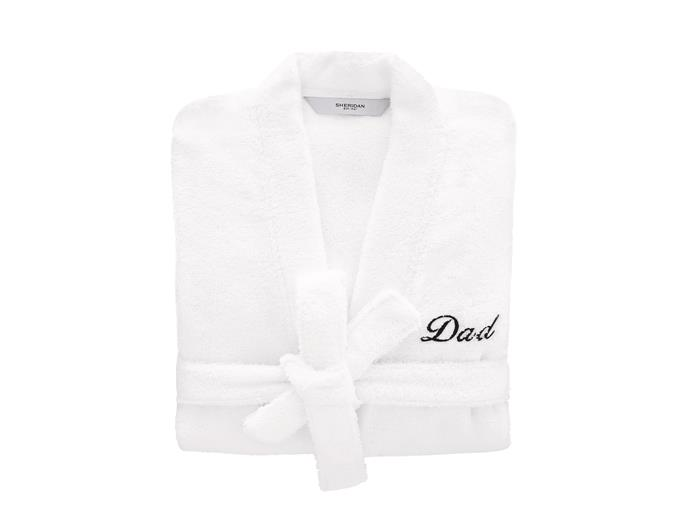 "Quick Dry Luxury Bathrobe Monogrammed White, $149.90, from [Sheridan](https://www.sheridan.com.au/quick-dry-luxury-bathrobe-sf12-b115-c243-001-white.html|target=""_blank""
