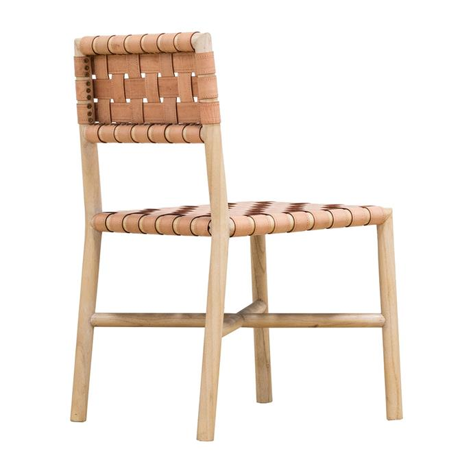"Globe West 'Seed' Leather Dining Chair in Natural, $635, [Life Interiors](https://www.lifeinteriors.com.au/globe-west-seed-leather-dining-chair-natural|target=""_blank""