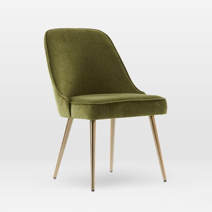 "Mid-Century Upholstered Velvet Dining Chair in Olive, $399, [West Elm](http://www.westelm.com.au/mid-century-upholstered-dining-chair-velvet-h2338?quantity=1&attribute_1=Distressed%20Velvet%2C%20Olive|target=""_blank""|rel=""nofollow"")"