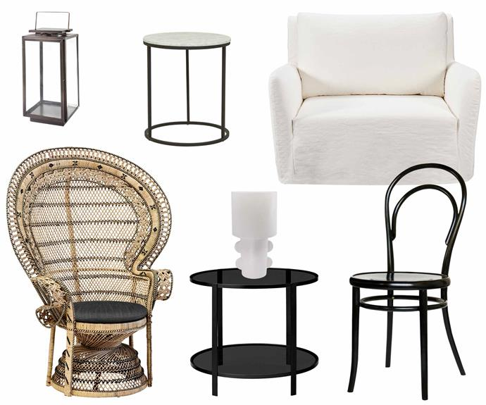 "**White, black and rattan** Strong yet subtle schemes are made of these. **Get the look** (clockwise from left) Amalfi glass hurricane lantern, $99, [Living Styles](https://www.livingstyles.com.au/|target=""_blank""