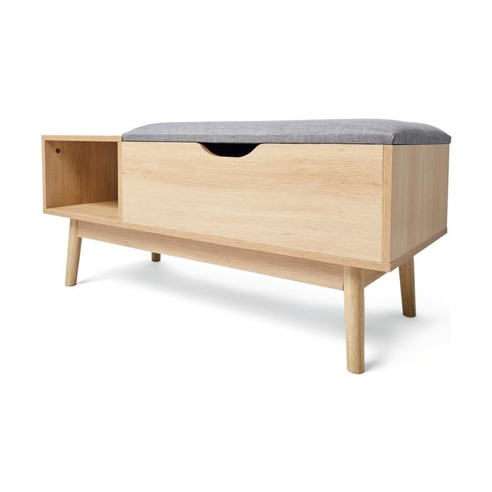 "[Oak Look Storage Bench, $49](https://www.kmart.com.au/product/oak-look-storage-bench/2588815|target=""_blank""