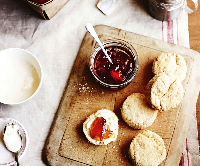 Simple scones served with apple jam and cream
