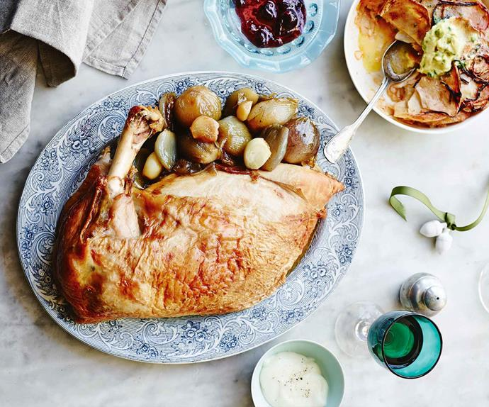 Roast turkey breast with condiments