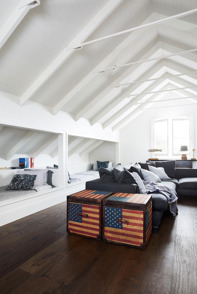 Making the most of the space above the garage, the loft is perfect for TV watching and accommodating extra guests. Camerich sofa, Saltwater.