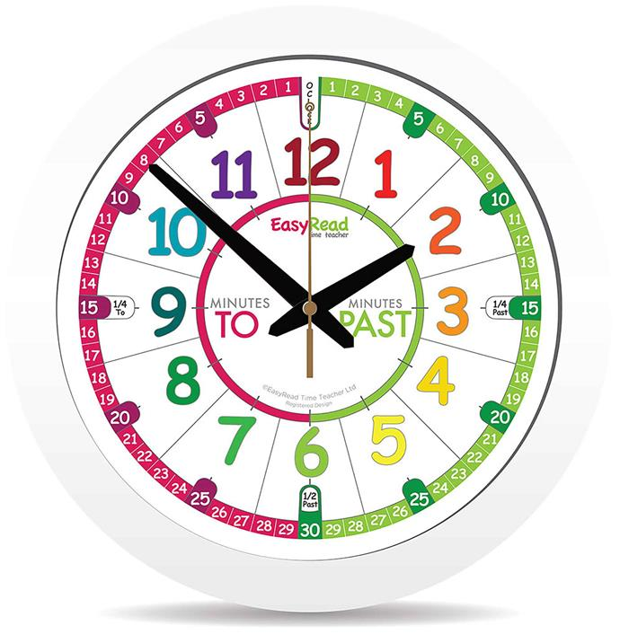 "<P>**CHILD FRIENDLY**<P> <p>Time Teacher wall clock by EasyRead, $36.95, from [Teach Me Toys](https://www.teachmetoys.com.au/easyread-time-teacher-wall-clock-29cm-colour-face|target=""_blank""
