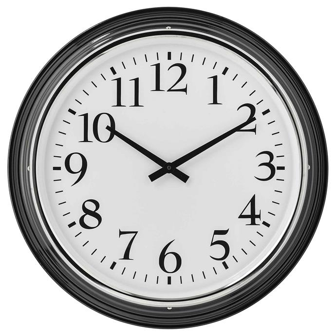 "<p>**HAMPTONS**<p> <p>'Bravur' wall clock in black, $59, from [IKEA](https://fave.co/2N31Osj|target=""_blank""