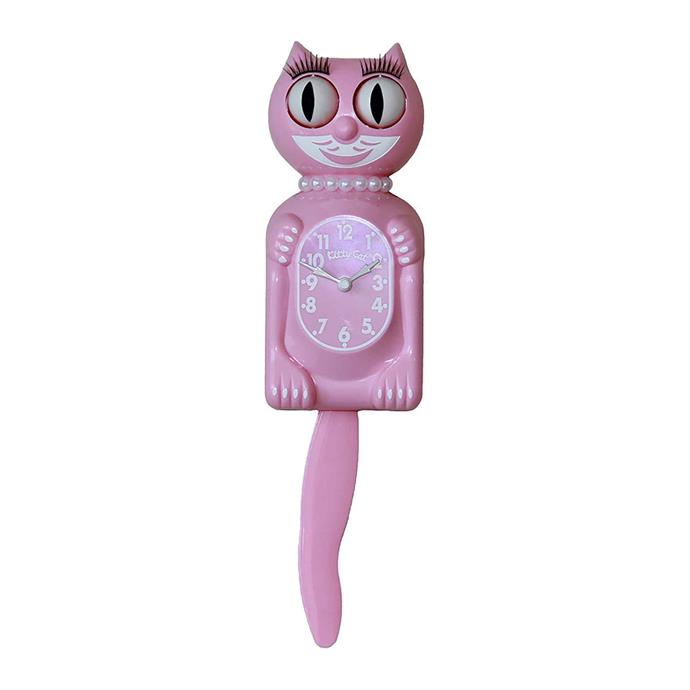 "<p>**KITSCH**<P> <p>'Kitty-Cat Pearls' wall clock in pink, $101, from [Amara](https://fave.co/2Z55Fvc|target=""_blank""
