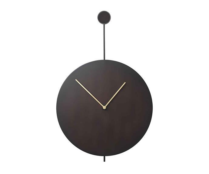 "**MID-CENTURY MODERN**<p> <P>'Trace' wall clock by Fern Living in black/brass, $389, from [Designstuff](https://www.designstuff.com.au/ferm-living-trace-wall-clock-black-brass|target=""_blank""|rel=""nofollow"").<p>"
