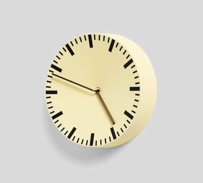 "<p>**PASTEL**<p> <p>'Analog' clock in light yellow by HAY, $190, from [Hay Shop](https://hayshop.com.au/products/analog-clock-light-yellow?_pos=2&_sid=bc2345191&_ss=r|target=""_blank""