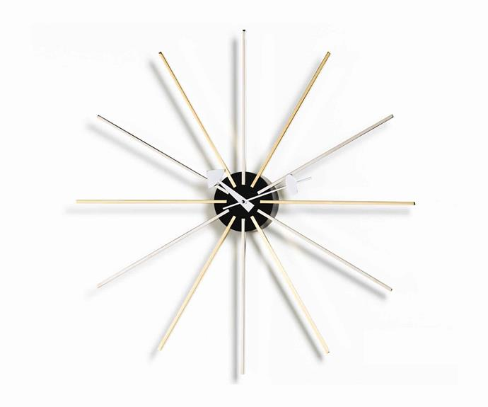 """**CULT CLASSIC**<p> <p>'Star Clock'  in chrome/brass by George Nelson for Vitra, POA, from [Space](https://www.spacefurniture.com.au/star-clock.html